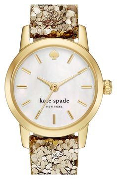 Crushing on this gold Kate Spade watch that gleams against the cloudy mother-of-pearl dial, set on a leather strap encrusted with twinkling gold sequins.