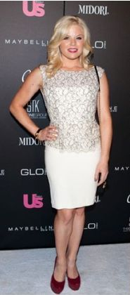 "Megan Hilty of the hit show ""Smash"" rocks the Alice+ Olivia Shovan Lace-Bodice Peplum Dress at the Us Weekly Best Dress Celebrities event. Love the pop of color in her shoes!"
