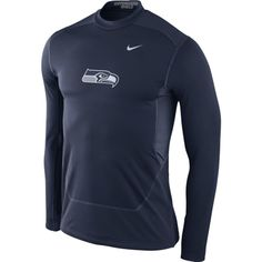 Seattle Seahawks Nike Hyperwarm Fitted Shield Max Long Sleeve Performance T-Shirt – College Navy