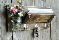 READY TO SHIP...Unique Rustic Wood Mail and by cottagehomedecor