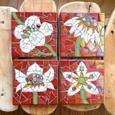 Summer flowers Handmade mosaic coasters by Canvinia on Etsy, Mosaic Tile Art, Mosaic Artwork, Mosaic Diy, Mosaic Crafts, Mosaic Glass, Mosaic Designs, Mosaic Patterns, Coaster Art, Mosaic Art Projects