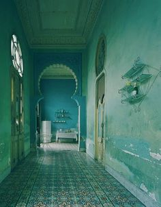 Havana, Cuba by Michael Eastman, Moorish influence in the arches such a pretty blue. Bleu Turquoise, Shades Of Turquoise, Shades Of Blue, Turquoise Room, Turquoise Tile, Magic Places, Interior And Exterior, Interior Design, Azul Tiffany