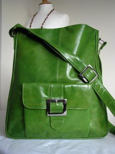 Kelly Green Leather Messenger Bag by TheLeatherStore on Etsy