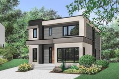 4-Bed Modern House Plan with Master Balcony - 22488DR | Architectural Designs - House Plans