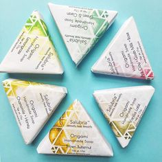 Soap the 🌈 There's an Origami Soap for everyone! Made with moisturizing olive, grape seed and apricot oils, rich coca/shea butters. Each batch is naturally colored using clays, herbs, spices and flowers 🌺. Win win for your skin! . . . . . .  #salubriagram #detoxify #heal #beautify #salubriacare #salubriastuff #beauty #natural #holistic #organic #beautiful #artwork #handmade #creative #skincare #skin #soap #soapmaking #bath #bathtime #bathtimefun #origami #spa #bathandbody #suds #sud…