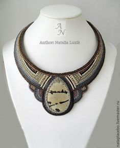 Beaded necklace Thaw grey brown bead embroidery – shop online on Livemaster with shipping