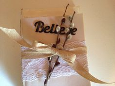 Believe embellished book stack. Antique lace trim. Perfectly aged and beautifully vintage. on Etsy, $10.99