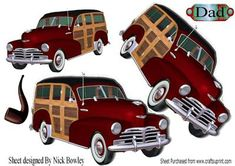 1948 red Vintage Woody Car with pipe A4  on Craftsuprint - Add To Basket!