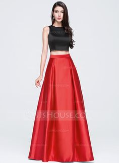 73fdda7645b A-Line Princess Scoop Neck Floor-Length Satin Prom Dress (018070369)