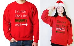 Nice and Naughty Cute Matching Unisex Couple His and Her Christmas Holiday Fleece Sweatshirt/ T-shirts (Ugly Sweater) 1 pair by MydaGreat #Christmas #MerryChristmas #love #matching #couple #hisandher #coupleshirt #matchingcouple #cutecouple #bae #holiday #funnyshirt #matchingset #adorable #nice #naughty #couplesweater #CHristmassweater #CHristmasgifts #holidaypresents #wifey #hubby