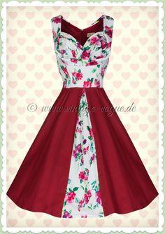 Lindy Bop 50er Jahre Rockabilly Petticoat Blumen Kleid - Avis - Rot Weiß