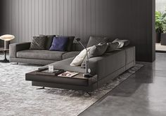 Minotti White sectional with attached leather table : Fabric : 06 Elephant Color: Pitti ;   Leather table Name: Pelle Extra Color 949 Visone