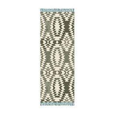 SPO Palmette Chenille Wool Kilim, Lapis, 2.5'x7'