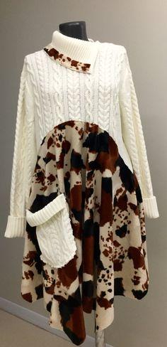 Boho clothing Upcycled Clothing Bohemian Dress Upcycled Sweater Dress Upcycled…