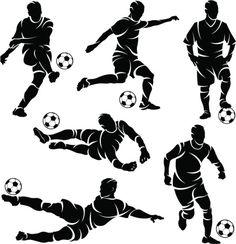 Silhouettes of soccer / football players vector art illustration Art Football, Football Poses, Soccer Art, Theme Sport, Football Silhouette, Soccer Drawing, Silhouette Clip Art, Art Folder, Art Poses