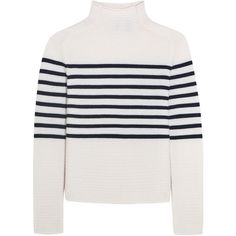 Topshop Unique Broadwick striped wool and cashmere-blend sweater (475 TND) ❤ liked on Polyvore featuring tops, sweaters, jumper, topshop, white, cashmere blend sweater, striped wool sweater, white striped sweater, stripe sweaters and white top