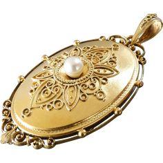 Large Antique Victorian Filigree Design Pearl Gold Locket #PearlGoldJewellery