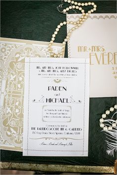 roaring twenties wedding ideas #roaring20wedding #goldinvitations #weddingchicks http://www.weddingchicks.com/2014/01/02/easy-roaring-20s-wedding-ideas/