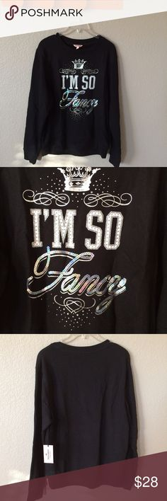 """🎉HP🎉 Juicy Couture """"I'm so fancy"""" sweatshirt Blingy and glam but totally comfortable!  Kind of an oversized fit for a M.  NWT! Juicy Couture Sweaters Crew & Scoop Necks"""