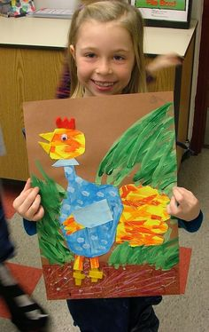 Art with Mrs. Seitz: 2nd Grade Texture Hen collages... to try with peacocks?