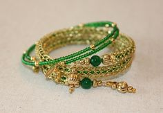 Handmade Brass Double Woven Lace Bracelet with Jade Bead and Green Glass Seed Bead Core by TanyaKaroonJewelry on Etsy