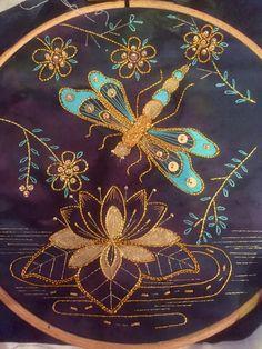 Gold and Metal - Kathleen Laurel Sage Bead Embroidery Patterns, Tambour Embroidery, Gold Embroidery, Cross Stitch Embroidery, Embroidery Designs, Broderie Bargello, Tie Dye Crafts, Art Nouveau, Blue Dragonfly
