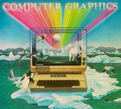 Is this graphic from the 80's not the most amazing Apple II display ad you've ever seen? It's got freaking rainbows and unicorns and even dolphins jumping out of the sea to play hopscotch with you. Shoot, it's even got a cute little dancing penguin too! The only thing that would make it better is if Steve Jobs was riding a great white shark in the background with a laser attached to its head.