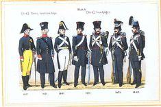 Plate 6: Honorary Invalid Corps, Landjäger, 1817-49 by Leo Ignaz von Stadlinger - Geschichte des württembergischen Kriegswesens - Uniforms of the troops of Württemberg