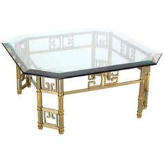 Mid-Century Modern Brass Thick Glass-Top Square Coffee Table by Mastercraft