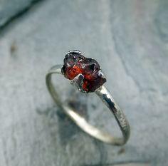 Raw Garnet ring Rough Spessartite Garnet Ring Rustic by byAngeline, $135.00