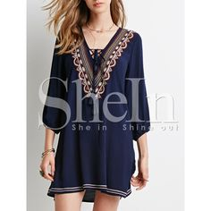SheIn(sheinside) Navy Long Sleeve V Neck Embroidered Dress ($17) ❤ liked on Polyvore