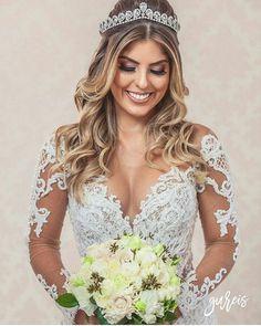 Wedding Hairstyles With Crown, Bride Hairstyles, Down Hairstyles, Bridal Hair, Bridal Gowns, Wedding Dresses, Bridal Heels, Wedding Hair Down, Dress And Heels