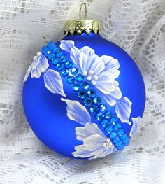 Royal Blue MUD Ornament with Flowers and Diagonal Bling. $20.00, via Etsy.