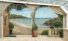 Mural with wisteria, clematis and seascape