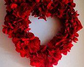 Valentines Wreath - Red Hydrangea Wreath - Valentines Floral Arrangement - Door Decoration - Home Decor. $46.00, via Etsy.
