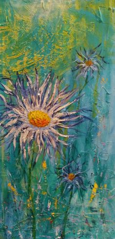 Bloom in the Happy Places, 24x48 acrylic on textured wood panel by Donna Ham, Artist.