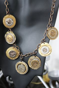 Metal Smashed Stamped Necklace of Antique hammered buttons riveted with copper Upcycled Vintage Medieval