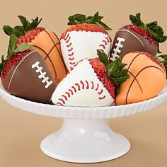 gourmet dipped strawberries decorated like footballs? Each sweet strawberry is hand dipped and decorated with  stitches simulating ball