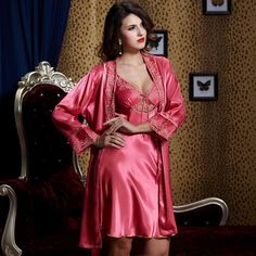High quality stain silk robes for women sexy v neck lady robe pajama set plus big size nightgowns apple red 9222