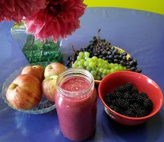 This delicious smoothie is made mostly from locally grown fruits: Black berries, our seedless green grapes, a friend's blue grapes (not . Yummy Smoothies, Smoothie Recipes, Green Grapes, Blackberries, Coconut Milk, Apples, Shake, Acai Bowl, Fruit