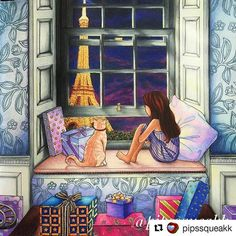 "Perfect! #Repost @pipssqueakk with @repostapp #thetimegarden #ofeitiçodotempo #thepresent #thetimechamber Almost done with the two page spread.m From Daria Song's ""The Night Voyage"" #dariasong #thenightvoyagecoloringbook #thenightvoyage #thepresent #thepresentcoloringbook #paris #eiffeltower"