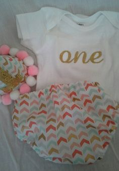Girls birthday cake smash outfit gold coral mint by KDaughters