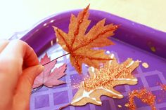 These glitter leaves are simply beautiful autumn leaf crafts for kids -- easy to make and a great way to decorate for fall. Leaf Crafts, Diy And Crafts, Crafts For Kids, Autumn Leaves Craft, Sweet Girls, Toddler Activities, Simply Beautiful, Birthday Candles, Diy Projects