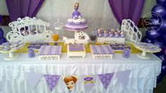 Love this Princess Sofia birthday party! See more party planning ideas at CatchMyParty.com!