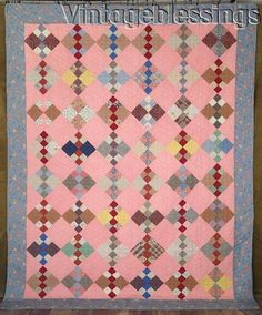 """Sweet One! ANTIQUE c1930s 4 Patch PA QUILT 95"""" x 75""""Never Used Crisp"""
