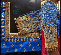 Silk Saree Blouse Designs, Fancy Blouse Designs, Bridal Blouse Designs, Embroidery Neck Designs, Hand Embroidery, Bead Embroidery Tutorial, Mirror Work Blouse Design, Mary Janes, Maggam Work Designs