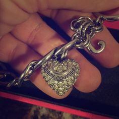 """Juicy Couture silver toggle bracelet Silver JC bracelet with heart and """"J"""" detail. Toggle closure so it fits basically any size wrist & comes in the box I got it in (: Juicy Couture Jewelry Bracelets"""