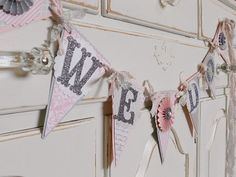 "Wedding Garland ""WE DO"" - Blush Pinks and Grey - Decoration - Photo Prop"