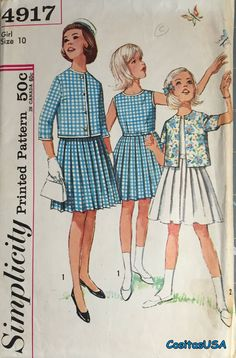 08f65d583b Simplicity 4917 Vintage Sewing Pattern Girls One by cositasusa Childrens  Sewing Patterns