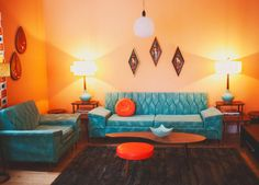 Stephanie Hiebert's colorful sitting room. Love the orange and blue color palette!
